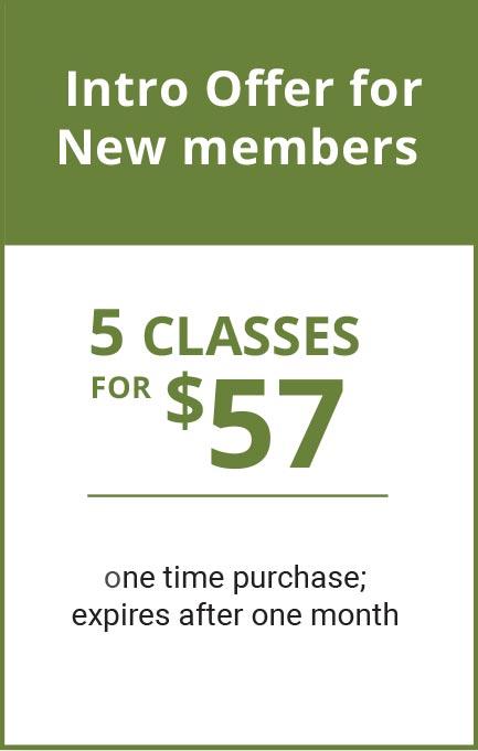5 yoga classes for $57