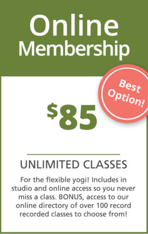 Online monthly membership to yoga classes with Sarah