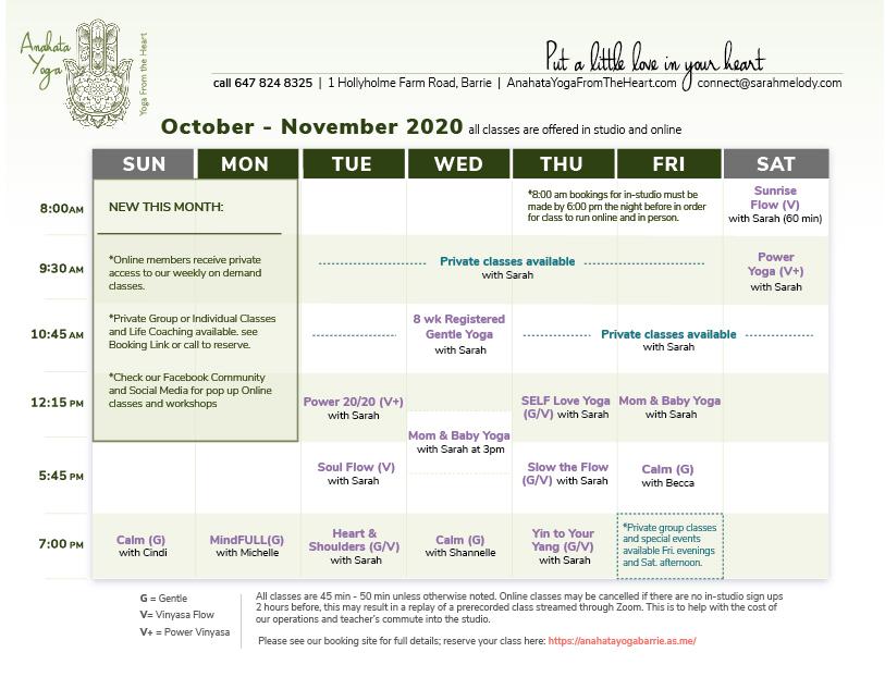 October 2020 schedule